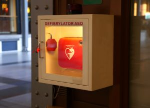 defibrillator in fitness center