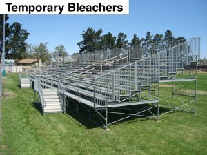 Risk management for temporary bleachers